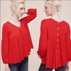 Anthropologie Eri + Ali Red Button Up Back Blouse